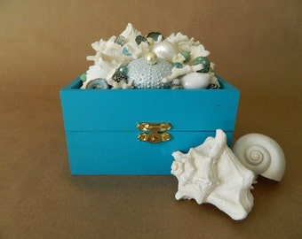 Deep Turquoise Seashell Trinket Box with Sea Urchin and Coral