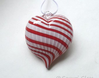 Red & White Stripe Heart Ornament : DISASTER RELIEF