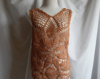 Crochet Top in Copper - Boho Lacey Chic Pullover Tank - Small