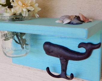 Rustic wood shelf with Whale hook, distressed shabby chic,sea green , cottage  home decor, es, wood shelves