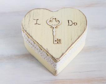 Rustic Wedding Ring Box Cream Ring Bearer Box  I Do / We Do Ring Bearer Box Custom Rustic Ring Bearer Box Engagement Ring Box Heart Ring Box