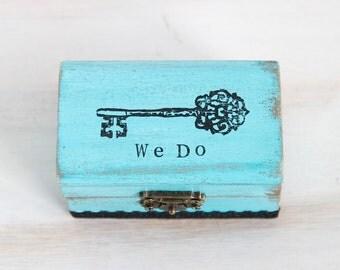 Wedding Ring Box, Ring Bearer Box, Pillow Alternative, Blue Ring Bearer Box, We Do / I Do Personalized Ring Bearer Box, Wedding Ring Holder