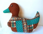 1970s Handmade Patchwork Print Large Duck with Button Eyes Soft Toy Cottage Chic Duck Figure Soft Toy