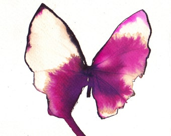 magenta pink and white gold  butterfly. ORIGINAL ART watercolour painting