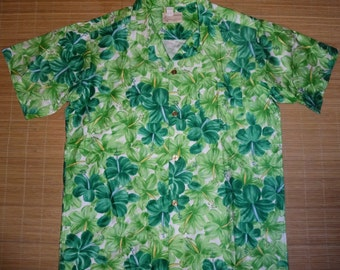Mens Vintage 60's Royal Green Hawaiian Aloha Shirt - L -  The Hana Shirt Co