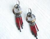 Red Coral Dangle Earrings Vintage Southwestern Fringe Tassel Jewelry Boho Cowgirl