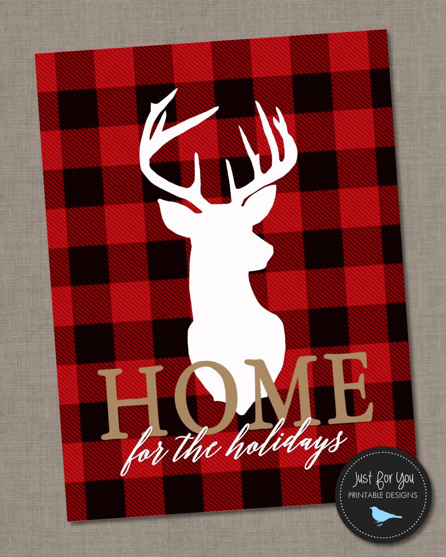 Christmas Printable Wall Art Home For The Holidays Red