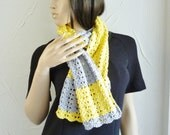Yellow and gray color block scarf - cotton - lacy scarf - recycled cotton yarn - eco friendly - crochet scarf