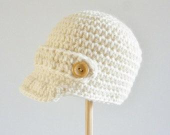 Newsboy cap for baby - cream - natural - age 6 - 12 moths - organic wool - merino - eco friendly