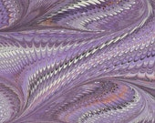 Hand Marbled Paper, 19x25in (48x64cm), deep purple feather pattern