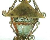 Folk Art  Lantern Copper and Rust Scroll Work Antique