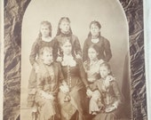 Antique Photo Women Mom with girls 1860's