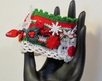 Christmas crocheted charm cuff bracelet