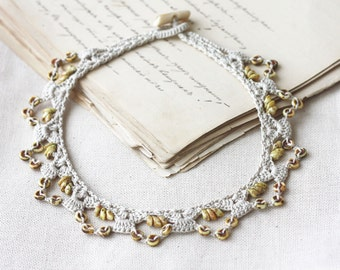Lace necklace Beaded crochet collar Beige Yellow natural jewelry Boho chic Gift for her Spring fashion Picasso beads