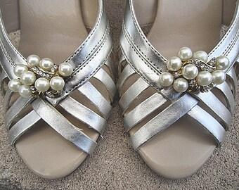 Bridal Pearl Rhinestone Shoe Clips Wedding Shoe Accessory -- JOLENE