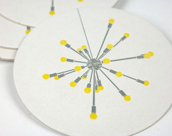 Satellite Sputnik Chandelier Light Letterpress Coasters - Set of 6