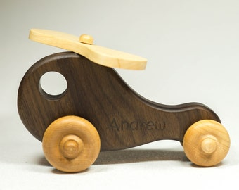 Wooden Toy Helicopter - Personalized - Great for Baby Shower, Birthday, Nursery Decor