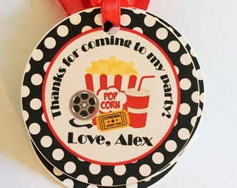 Movie Night Birthday Party Personalized Favor Tags, Thank You Tags, Treat Tags, Goody Bags,  Party Favors, Party Decorations, Set of 12