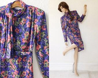 80's Secretary Dress, Purple Ikat Pattern Shift Dress with Self Belt and Scarf, Below Knee Length, by Anthony Richards, Size Large, Vintage