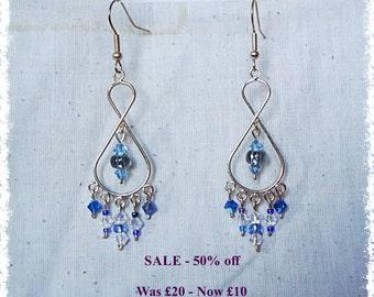 SALE - Tear Drop Dangle Earrings - Blue