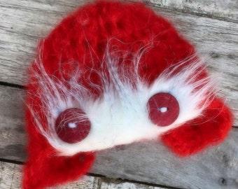new born red aviator hat,fur aviator hat,photo prop, new born photo prop