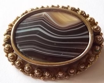 Victorian banded agate Striped Brooch Pin WOW
