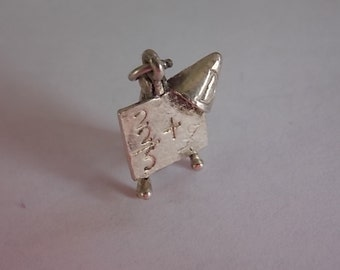 Vintage Silver Charm Easel Dunce Cap Moving Very Rare