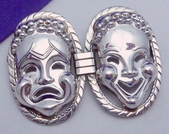 Vintage Danecraft Sterling Silver Drama Tragedy Comedy Pin 21467