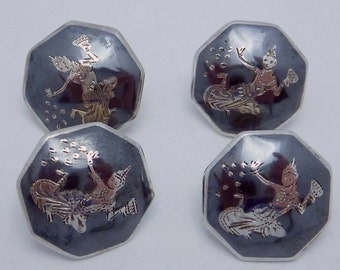 Vintage Siam Sterling Silver Niello Dancer Buttons Set of 4 22022