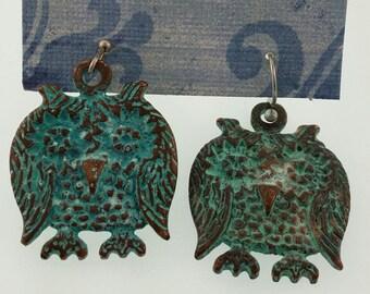 patina owl earrings
