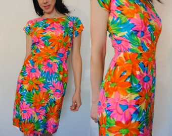 60s silk bright floral psychedelic wiggle dress hippie boho