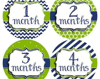 FREE GIFT, Monthly Baby Stickers Boy, Navy Blue, Lime Green, Baby Month Stickers Boy, Baby Belly Stickers, Baby Stickers, Chevron, Navy Lime