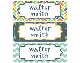 Name Labels, School Name Labels, Daycare Name Labels, Baby Bottle Labels, Boy, Waterproof, Name Label, Tribal, Arrows, Tribal Name Labels