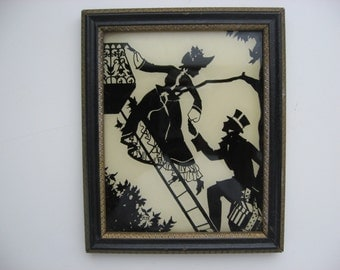 """VALENTINE SALE Vintage Reverse Painting Silhouette Glass Picture by Reliance//Titled """"Elopement""""//Valentine Gift"""