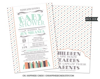 Book or Library Theme Baby Shower Invitation// Digital or Printed (FREE SHIPPING!)