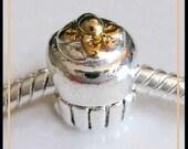 18KGP Birthday CUPCAKE - Excellent Quality Charm Bead - fits European Bracelets - PSG-1120