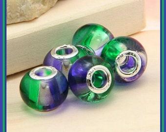 Sale for 2 pcs ~ Gorgeous GRADiENT Shades of PuRPLE & GREEN ~ Transparent ~ Lampwork Beads ~ fits European Bracelets