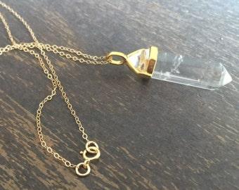 Crystal Necklace - Clear Crystal Quartz Jewelry - Point - Spike - Statement Jewellery - Gold - Chain - Arrow - Gemstone