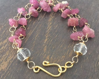 Raw Ruby Bracelet - July Birthstone - Natural Gemstone Jewelry - Gold Jewellery - Chain - Luxe - Couture - Beaded