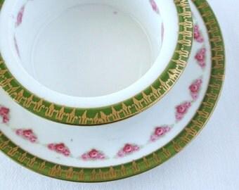 Porcelain dessert cup, custard cup, rose floral ramekin, Austria,