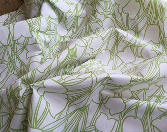 Home Furnishing 1970s Spring Green Tulip Fabric. Sundour Socrates Cotton Mix Fabric. Length 1m Cut from Bolt