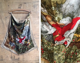 Aldbrook of Mayfair Silk Printed Scarf. Lady on a Swing. Wonderfully Large Square