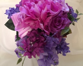 """Wedding Package, 16 Pieces, Bride, maids,  Boutonnieres, Corsages, Toss ,Centerpiece Pink, Purple """"Bountiful Bouquets"""" #BB122"""