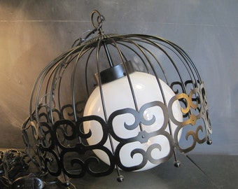 Very Large Round Metal Cut Out Cage with Glass Globe Swag Lamp