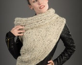 The Huntress Cowl Scarf - Christmas Gifts-Chunky Cowl Post Apocalyptic/ Asymmetrical Vest Blanket Scarf Handknit Oatmeal Sweater Cowl Vest