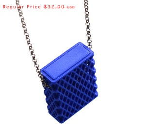 3d printed necklace- Matchbox Pendant in Blue - modern, geometric jewelry, personalized jewelry SALE