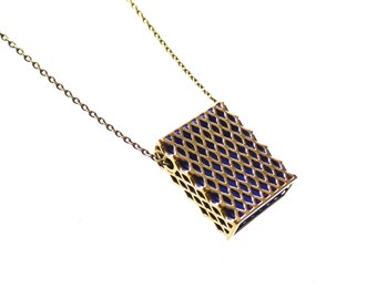 3d printed keepsake- Matchbox Pendant in Polished Brass and Blue - modern, geometric jewelry, personalized