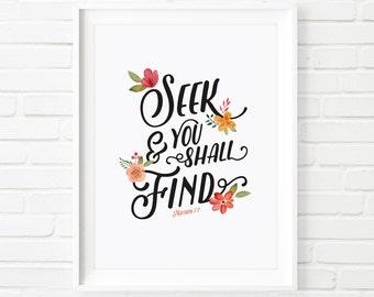 Seek and you shall find, Printable art Bible verse art, christian art, christian print, floral print, inspiring art, Matthew 7, motivational