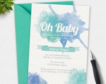 Boy Baby shower invitation, watercolor Invitation, custom invitation, printable invitation, 4x6 invitation, 5x7 invitation, digital invite