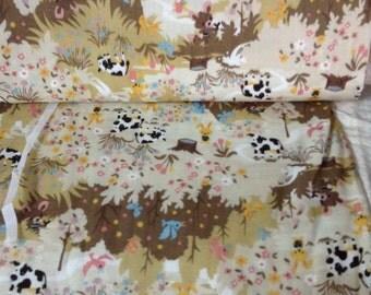 Japanese Kokka woodland farm cow scene on cream Back Ground vintage type material 100 percent cotton from Japan 1 yard